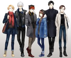 """kinlkeyl: """"RFA members in winter clothes Finally finish it! Yay \( > A < )/ """""""