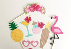 Flamingo & Pineapple Photo Booth Prop Collection by TOASTEDProps