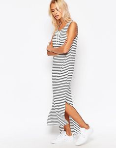 £18 Brave+Soul+Striped+Maxi+Dress+With+Tie+Up+Front