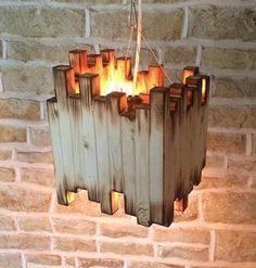 Handmade Ceiling Light Pendant Rustic Burnt Wood Strange Wooden Lamp Shade Unusual Texture Bold Square Dark Spooky Unique Lighting Company