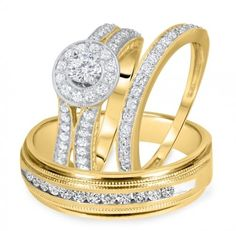 10k White Gold FN Mens Woman Diamonds Ring Bands Trio Bridal Set With Free Gift