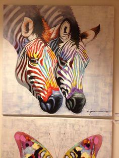 Kleurrijk schilderij 'Zebra'. Nieuwe collectie..