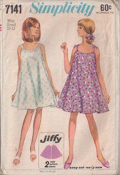 MOMSPatterns Vintage Sewing Patterns - Simplicity 7141 Vintage 60's Sewing Pattern MOST ADORABLE Jiffy Mod Full Flared Swinging Tent Dress, Sun Dress, Nightgown, Eyelet, Tied Shoulders