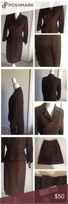 """Brand new Le Suit  Essential 2PC skirt suit 🍂🍂🍂 Brand new, chocolate color, 100% cotton, 100% polyester lining, dry clean only. Vest: 3 front button with 2 pockets on each sides, sleeve length from shoulder 20.5"""", pit to pit 18"""". Length measured from the top of the neck from the back to bottom 23"""". Skirt: length 24.5"""", waist 14.5"""" , the skirt has a zip at the back 🍂🍂🍂 Le Suit Jackets & Coats"""