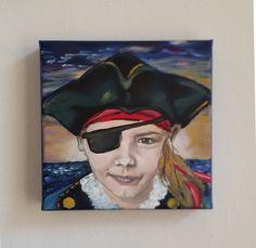 Kinderportrait Motto Pirat Acryl auf Leinwand Auftragsarbeit