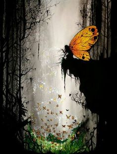 Dark and mysterious butterfly fairy.