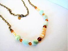 Marjorie Baer SF Necklace, Modernist Aqua Glass,  MOP Beads, Brass Chain