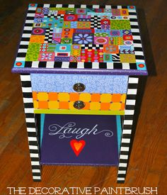 Painted Table Nightstand Furniture by TheDecorativeBrush on Etsy