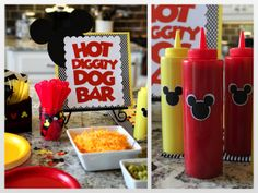 Mickey and Minnie Birthday Party & Hot Dog Bar #mickeyparty #minnieparty #twinbirthday #genderneutralbirthday