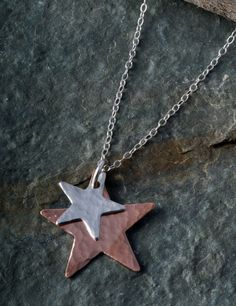 Sterling Silver and copper Hammered Star by Bluestarfishdesigns, £12.99
