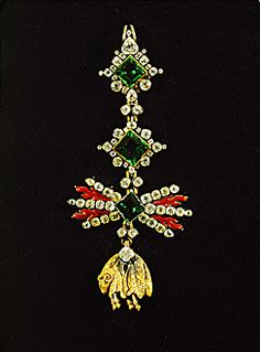BAROQUE INSIGNIA 18TH Order of the Toison d'Or, the Golden Fleece. Gold, emeralds, diamonds, corals.