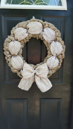 Burlap and lace wreath Wedding Wreath Year round wreath Burlap Crafts, Wreath Crafts, Diy Wreath, Decor Crafts, Diy And Crafts, White Wreath, Burlap Wreaths, Wreath Ideas, Couronne Shabby Chic