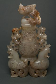 JP: Chinese Old White Jade Carved Phoenix Vase w Lid