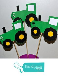 Farm John Deere Green Tractor Table Topper centerpiece set of 3 from Blue Box Party