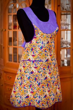 Everyday Chic Gypsy Songbirds Apron -- Colorful Birds on Sunny Lemon Yellow with Lilac Lavender