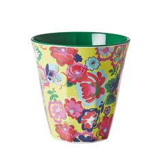 Rice Medium Melamine Cup Two Tone With English Rose Print - Fig. Melamine, Plastic Cups, House Doctor, English Roses, Planter Pots, Barn, Rice, Tableware, Kitchen Accessories