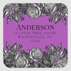 Black Roses Electric Purple Seal Return Address Holiday Cards, Christmas Cards, Black And White Roses, Invitation Envelopes, Colored Envelopes, Return Address, Christmas Card Holders, Different Shapes, Bold Colors