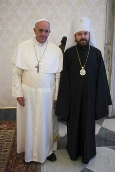 Pope Frances with Metropolitan Hilarion of the Moscow Patriarchate Russian Orthodox Church.