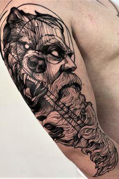 Lion Head Tattoos, Bear Tattoos, Body Art Tattoos, Sleeve Tattoos, Bow Tattoo Designs, Sketch Tattoo Design, Back Of Forearm Tattoo, Forearm Tattoos, Viking Warrior Tattoos