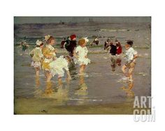 Children on the Beach Giclee Print by Edward Henry Potthast at Art.com