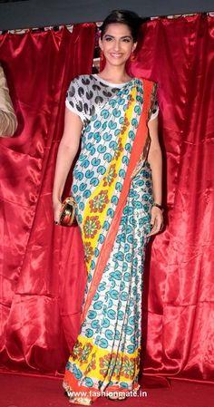 Sonam Kapoor wearing a bright digital print Sari