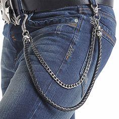 Men's 2 Layers Cowboy Skull Leather Braid Cuban Chain Key Chain Big Hook Biker Trucker Jean Wallet Chain Hip Hop Accessories J02 #Affiliate