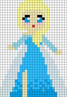 Frozen Cutie Elsa Perler Bead Pattern / Bead Sprite - Might use this for pixel art Perler Bead Designs, Hama Beads Design, Pearler Bead Patterns, Perler Bead Art, Perler Patterns, Perler Beads, Perler Bead Disney, Fuse Beads, Cross Stitching