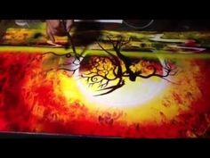Sunset spray paint art (and brush) 2