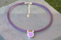 Lilac Metallic Leather Necklace Snap Jewelry Noosa Style, Ginger Snaps Jewelry Interchangeable Snap On Button Included. by Monibu on Etsy
