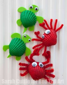Cute Crabs Crafts, a great Beach Crafts for Kids. Perfect project for Spring Under The Sea Crafts for Kids shell crabsMake adorable crab art projects with little kids using seashells.Beach Crafts for Kids Materials: Shell, acrylic orange soda pop Crab Crafts, Vbs Crafts, Camping Crafts, Preschool Crafts, Diy And Crafts, Magnets Crafts, Kids Magnets, Kids Arts And Crafts, Beach Themed Crafts
