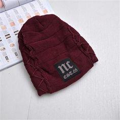 885ee63293c 2018 Winter Beanie Fleece Hat Letter Slouchy Beanie Woolen Cap Mens Winter  Casual Knitted Hats Fashion