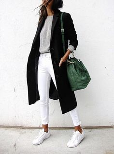white converse with black long coat cute fall street style