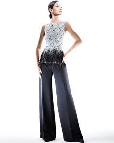 Carolina Herrera Sleeveless Lace Blouse & Silk Crepe Pants