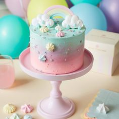 Rainbow & Clouds CakeYou can find Ombre cake and more on our website. Small Birthday Cakes, 9th Birthday Cake, Rainbow Birthday Cakes, Unicorn Rainbow Cake, Birthday Cakes Girls Kids, Smash Cake Girl, Baby Girl Cakes, Meringue Cake, Buttercream Cake