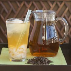 Refreshing Lychee Oolong Tea, fruit-infused with a sunny and soft golden hue.