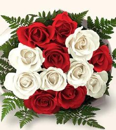 Red N White roses carries different colors and each color carries a different message. Red Rose symbolizes passion and White Rose is the sign of purity and innocence. Send Birthday Theme Flowers Hyderabad and this innocent and enchanting bouquet makes an Send Flowers, Fresh Flowers, Beautiful Flowers, Gift Flowers, Beautiful Gifts, Beautiful Places, Fern Bouquet, White Rose Bouquet, Online Flower Delivery