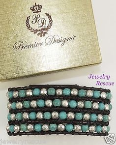 PREMIER-DESIGNS-Beach-Bound-Bracelet-Leather-Faux-Turquoise-Silver-Plated-5887