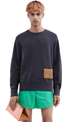 Acne Studios College sweatshirt with a large face patch #AcneStudios #menswear #SS16