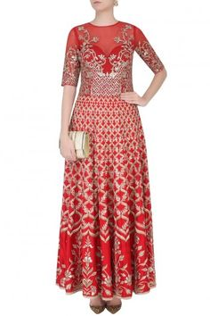 Red Gota Pati Work Gown By ANITA DONGRE #AnitaDongre, #Silk, #Red