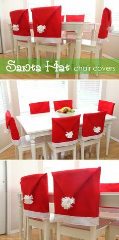 Santa hat chair covers