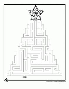 6 free printable christmas mazes for kids in the shapes of christmas trees and christmas wreaths