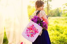 Vintage Inspired Floral Burst Tote Bag in Customizable Colors and Stripes. Perfect for Spring and Summer. Add some color and fun to your day