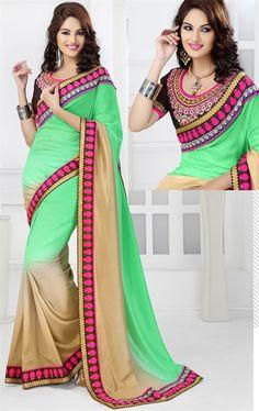 Gorgeous Green and Cream Color Jacquard Saree