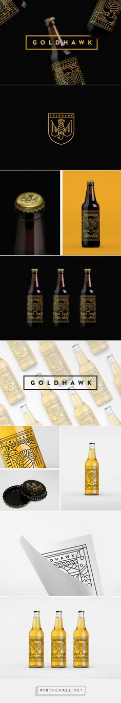 Goldhawk - label design by Don't Try Studio on Behance curated by Packaging Diva PD. Nice craft beer packaging design.