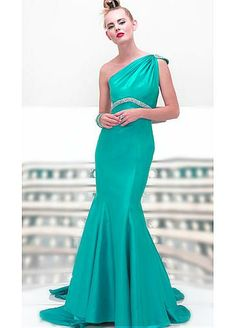 Fabulous Taffeta Mermaid One Shoulder Prom Dress With First-class Fabric And Exquisite Handwork