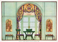 1929 Color Print Pompeian Style Room Interior Design Decorative Edward Thorne | eBay