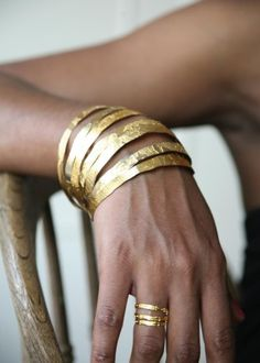 Hand Etched Gold Plated Brass and Copper Bangles