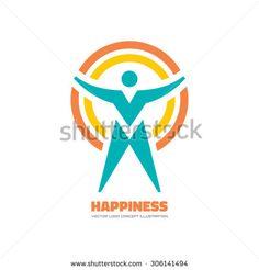 Happiness - vector logo concept illustration. Human character logo. People logo. Man logo. Vector logo template. Design element.