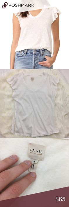 """Rebecca Taylor La Vie White Ruffle Sleeve T-Shirt Gorgeous designer top in excellent condition. Ruffle sleeves are so flattering and cute and the color is perfect for everything in your closet. No flaws and absolutely beautiful. Ask any questions 💕 approx measurements: 17"""" bust, 23"""" length Rebecca Taylor Tops Tees - Short Sleeve"""