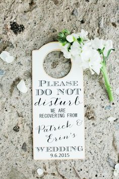 do not disturb signs as wedding favours